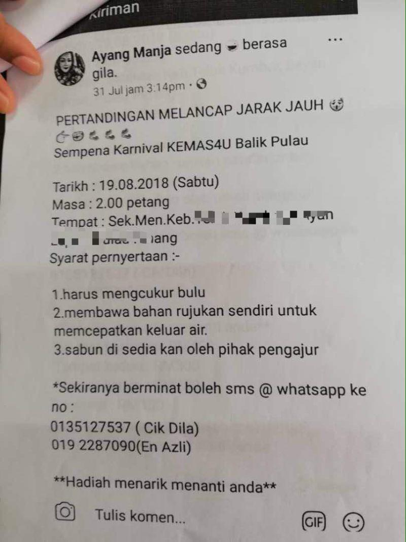 A fake Facebook posting had claimed a school in Teluk Kumbar will be having a 'masturbation competition' this weekend.