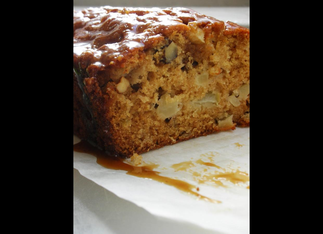 """Fresh Apple Cake with Brown Sugar Glaze """"Fall is my favorite time of the year to bake, and this cake will be a staple of mine during apple season. It's so moist that it keeps really well, and is great with or without the glaze. The cake is flavored with vanilla, which is a nice change from the usual apple-cinnamon combination."""" (Full Recipe <a href=""""http://awhiskandaspoon.com/2010/09/20/tcs-fresh-apple-cake-with-brown-sugar-glaze/"""" rel=""""nofollow noopener"""" target=""""_blank"""" data-ylk=""""slk:Here"""" class=""""link rapid-noclick-resp"""">Here</a>)"""