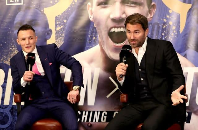 Eddie Hearn, right, has Warrington on course for a unification fight at Headingley (Bradley Collyer/PA)