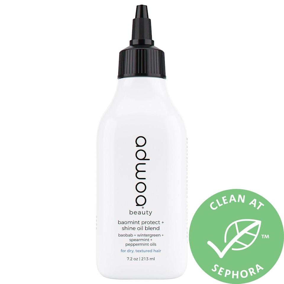 """<p>The naturally derived oils found in this <a href=""""https://www.popsugar.com/buy/Adwoa-Beauty-Baomint-Protect-Shine-Oil-Blend-575430?p_name=Adwoa%20Beauty%20Baomint%20Protect%20and%20Shine%20Oil%20Blend&retailer=sephora.com&pid=575430&price=20&evar1=bella%3Aus&evar9=47486817&evar98=https%3A%2F%2Fwww.popsugar.com%2Fbeauty%2Fphoto-gallery%2F47486817%2Fimage%2F47486827%2FAdwoa-Beauty-Baomint-Protect-Shine-Oil-Blend&prop13=api&pdata=1"""" class=""""link rapid-noclick-resp"""" rel=""""nofollow noopener"""" target=""""_blank"""" data-ylk=""""slk:Adwoa Beauty Baomint Protect and Shine Oil Blend"""">Adwoa Beauty Baomint Protect and Shine Oil Blend</a> ($20) all stimulate and support the scalp, so hair is well-nourished but not left greasy. One standout is its grapeseed oil that may help protect against the production of a hormone that can lead to unwanted hair loss.</p>"""