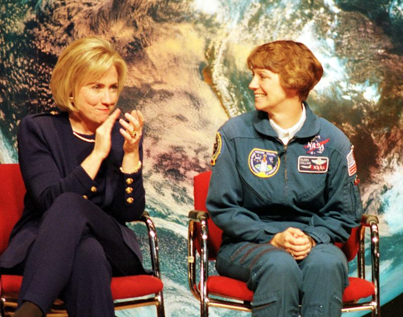 First lady Hillary Rodham Clinton and NASA astronaut Eileen Collins