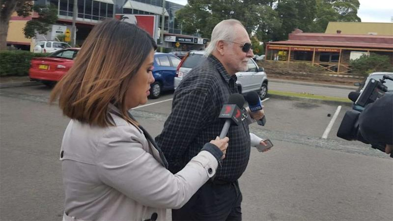 7 News reporter Leonie Ryan speaks to Chris Nelson at the front of Gosford Local Court and is pleading guilty for using a carriage service to cause offence. Photo: ABC