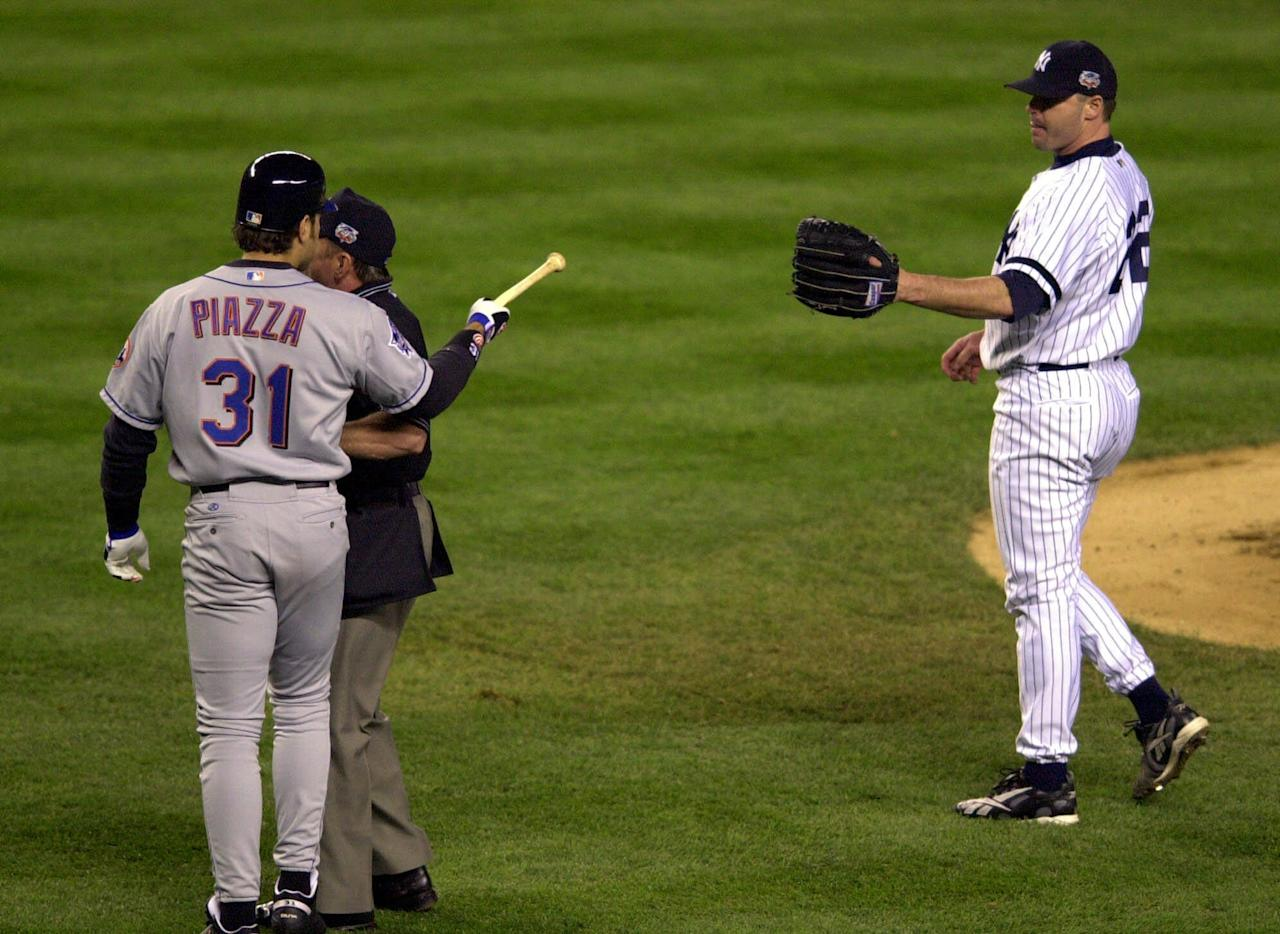 <p>The most infamous moment from the 2000 Subway World Series saw New York Yankees pitcher Roger Clemens throw the shattered bat of Mike Piazza right back at the New York Mets catcher as he headed for first base. Earlier that year, Piazza was forced to miss the All-Star game after Clemens gave him a concussion when he drilled him in the head with a fastball. </p>