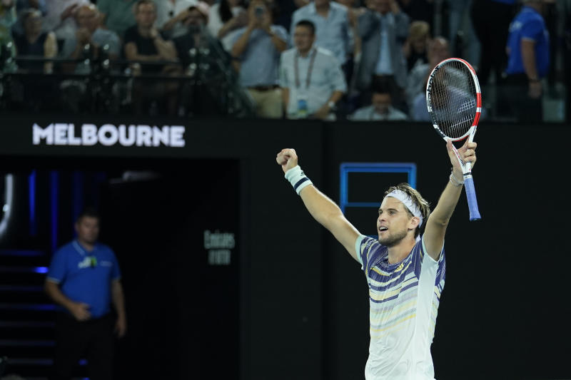 Dominic Thiem celebrates after beating Rafael Nadal at the Australian Open. (Photo by Fred Lee/Getty Images)