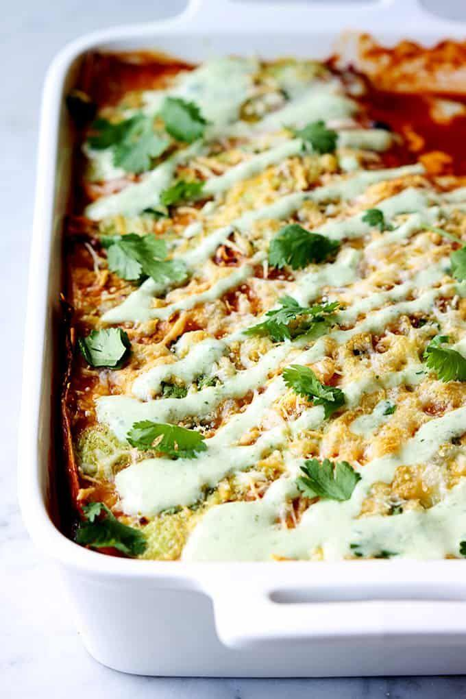 """<p>The cilantro lime ranch dressing really brings the tender, sweet pork and rich flavors of the enchilada sauce together.</p><p><strong>Get the recipe at <a href=""""https://www.lecremedelacrumb.com/sweet-pork-enchilada-stacks-aka-enchilada-casserole-cafe-rio-style/"""" rel=""""nofollow noopener"""" target=""""_blank"""" data-ylk=""""slk:Creme de la Crumb"""" class=""""link rapid-noclick-resp"""">Creme de la Crumb</a>.</strong> </p>"""