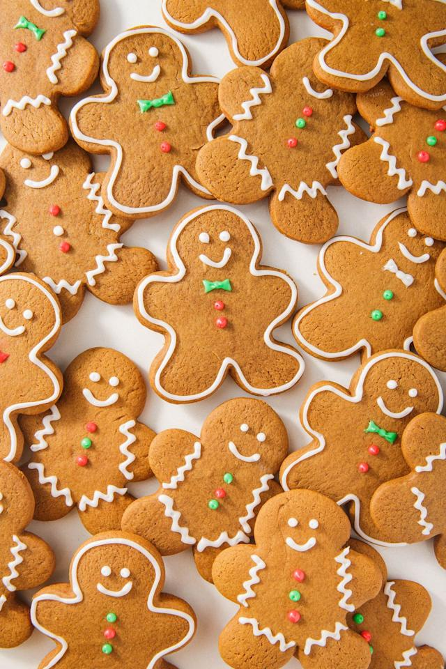 "<p>Can you believe gingerbread houses have been around since the 16th century?! Today, we're partial to these cute little gingerbread people.</p><p>Get the recipe from <a rel=""nofollow"" href=""https://www.delish.com/cooking/recipes/a50468/gingerbread-cookies-recipe/"">Delish</a>.</p>"