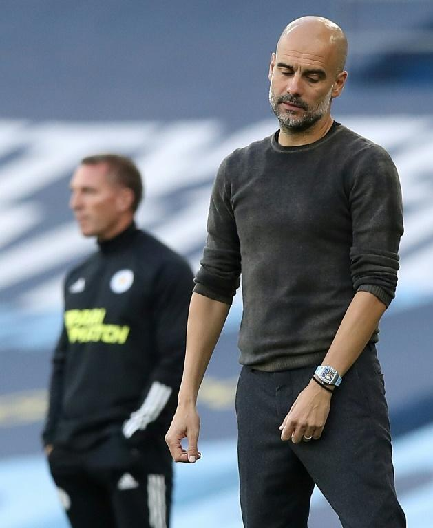 Low five: A Pep Guardiola side conceded five goals for the first time in his coaching career in Manchester City's 5-2 defeat to Leicester