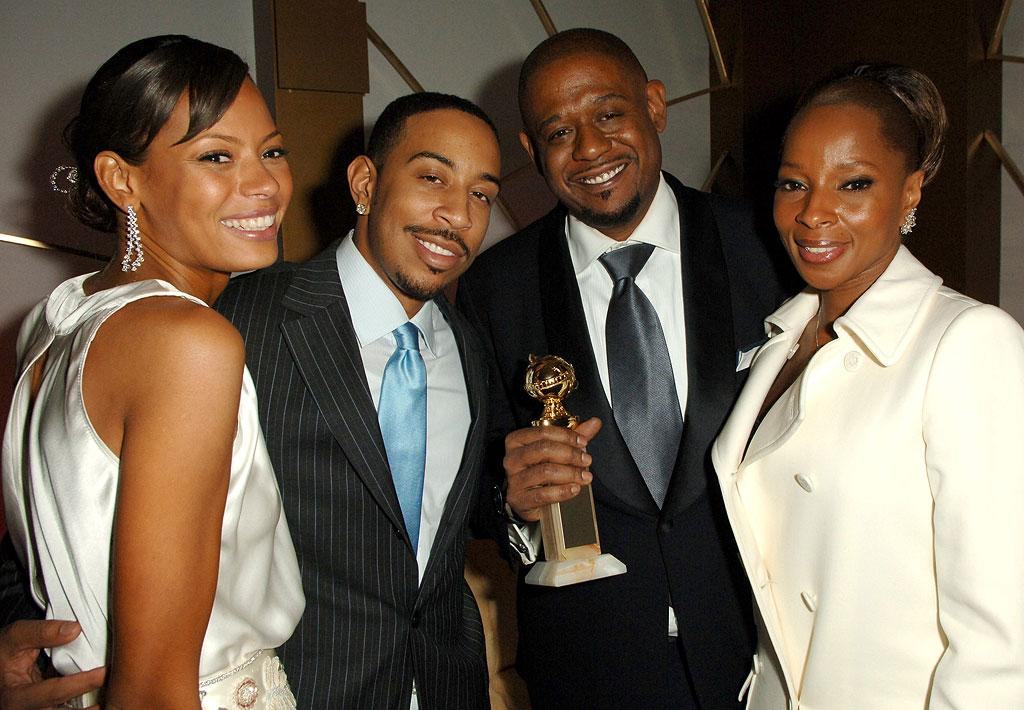 """Keisha Whitaker, Chris """"Ludacris"""" Bridges, <a href=""""/forest-whitaker/contributor/29951"""">Forest Whitaker</a> and <a href=""""/mary-blige/contributor/37534"""">Mary J. Blige</a> and guest (left) at the In Style and Warner Bros. 2007 Golden Globe After Party."""