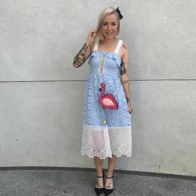 """Leslie Kay, the woman behind the DisneyBound Tumblr, showing off her Alice from """"Alice in Wonderland"""" Disneybound. (@TheDisneyBound)"""