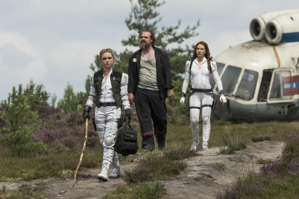 David Harbour with Florence Pugh and Scarlett Johansson in Black Widow (Jay Maidment/Marvel Studios/PA)