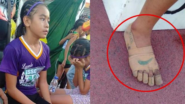 Rhea Bullos competed in the athletics meet with strapping tape for sneakers. Pic: Twitter