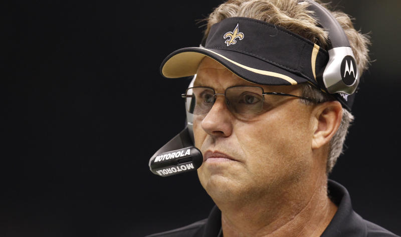 """FILE - In this Sept. 26, 2010, file photo, Saints defensive coordinator Gregg Williams looks on during an NFL football game against the Atlanta Falcons at the Louisiana Superdome in New Orleans. Williams, the former Saints defensive coordinator, apologized for running a bounty program that targeted opposing players for injuries. In a statement, he says the program was a """"terrible mistake and we knew it was wrong while we were doing it."""" The NFL on Friday said that it had found between 22 and 27 Saints participated in the program over the last three seasons, and that players including quarterbacks Kurt Warner and Brett Favre were targeted. (AP Photo/Gerald Herbert, File)"""