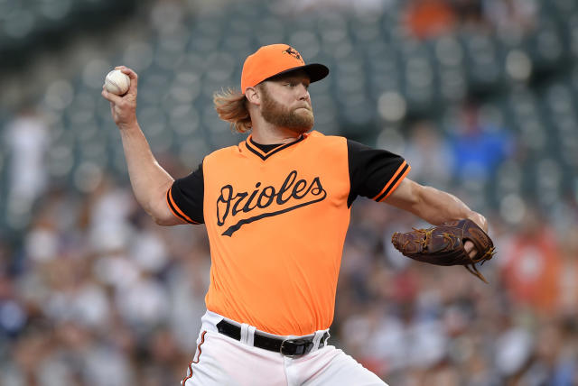 FILE - In this Aug. 25, 2018, file photo, Baltimore Orioles starting pitcher Andrew Cashner delivers a pitch during the first inning of the second baseball game of a doubleheader against the New York Yankees, in Baltimore. Cashner is one of a handful of veterans sure to make the 25-man roster. (AP Photo/Nick Wass, File)