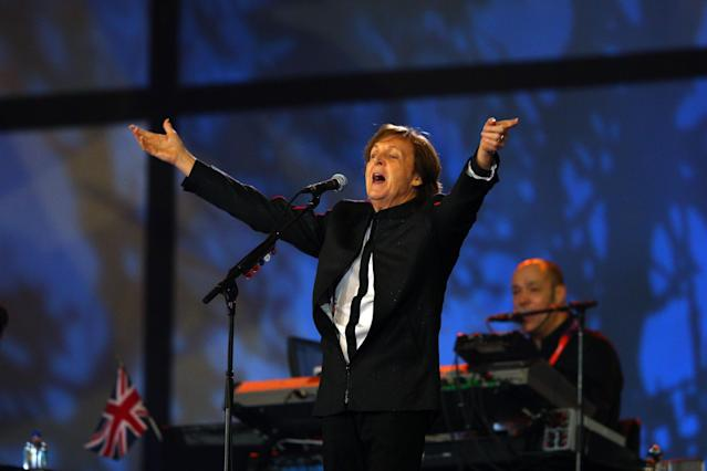 Ex-Beatle Sir Paul McCartney performs during the opening ceremony of the London 2012 Olympic Games. (Getty)