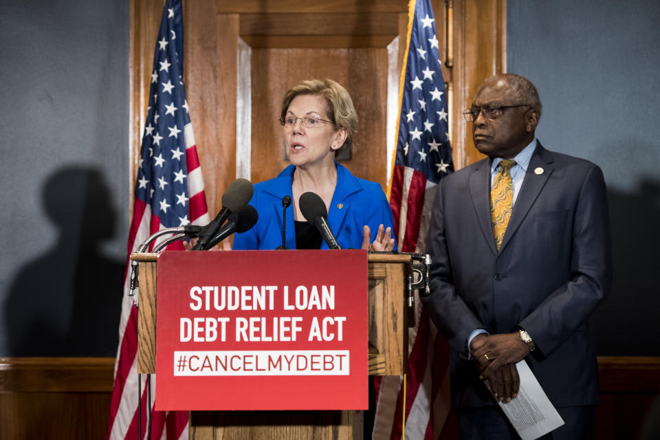 UNITED STATES - JULY 23: Sen. Elizabeth Warren, D-Mass., and House Majority Whip Jim Clyburn, D-S.C., hold a press conference in the Dirksen Senate Office Buidling to introduce the Student Loan Debt Relief Act to cancel student loan debt for millions of Americans on Tuesday, July 23, 2019. (Photo By Bill Clark/CQ Roll Call)