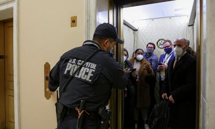 Capitol police evacuate journalists and House press staff members from the Capitol.