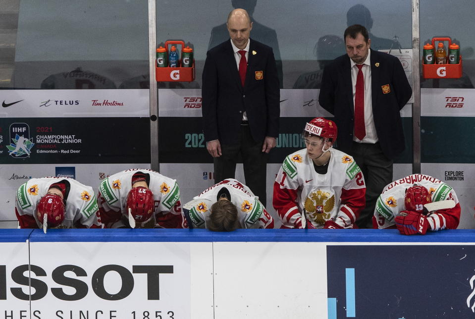 Russia players react after losing to Finland in the third-place game in the IIHF World Junior Hockey Championship, Tuesday, Jan. 5, 2021, in Edmonton, Alberta. (Jason Franson/The Canadian Press via AP)