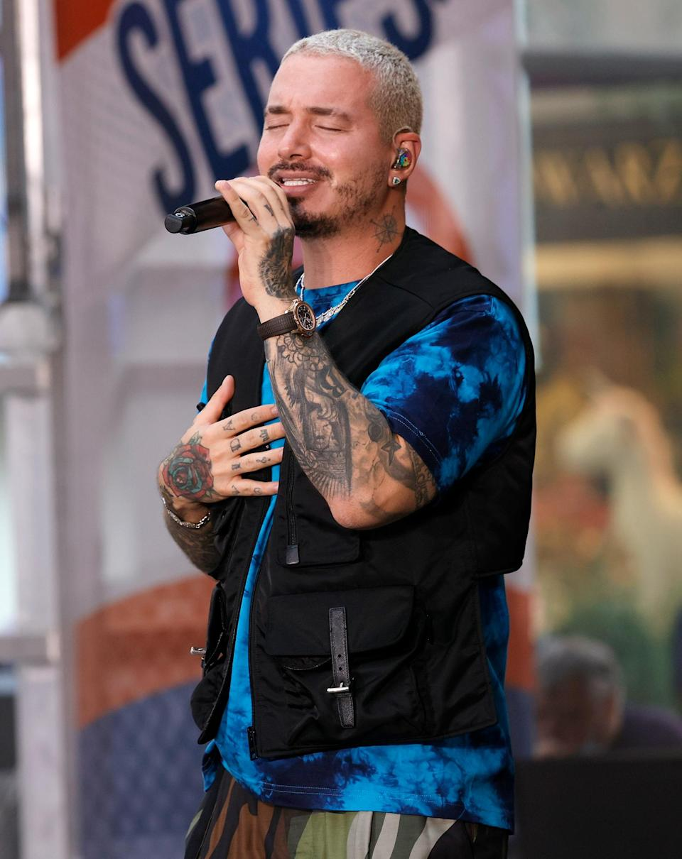 <p>J Balvin sings from the heart on Aug. 27 during his performance on <em>Today</em>'s Citi Concert Series in N.Y.C.'s Rockefeller Plaza. </p>