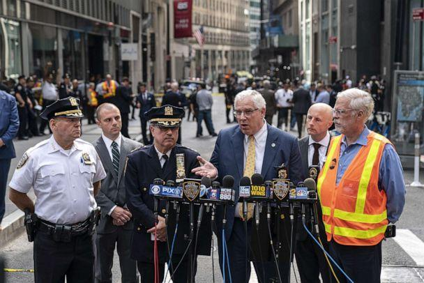 PHOTO: John Miller, Deputy Commissioner of Intelligence and Counterterrorism for the NYPD, speaks to the press near the scene of a suspicious package near the Fulton Street subway station in Lower Manhattan on August 16, 2019, in New York. (Drew Angerer/Getty Images)