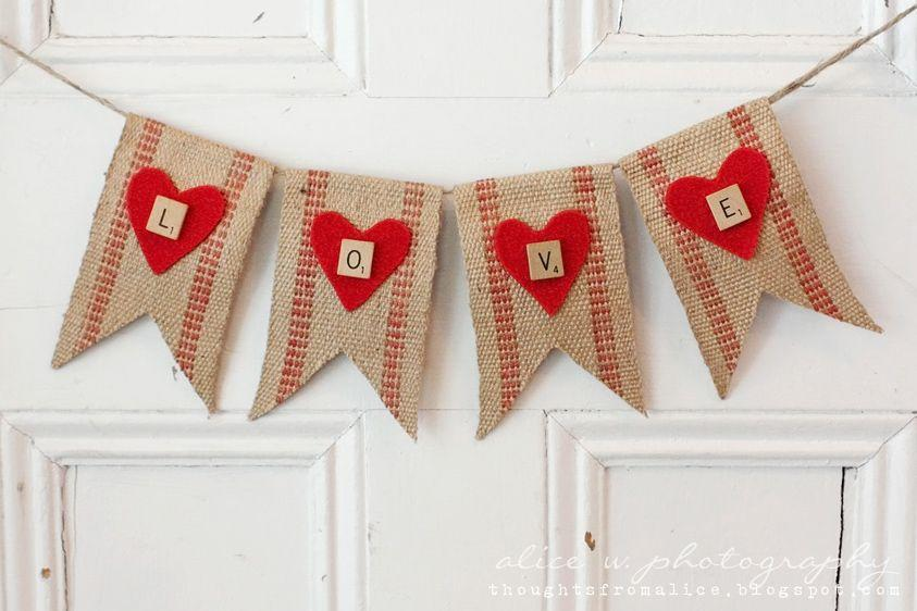 """<p>Spell out your love with this simple felt and burlap DIY. Scrabble letters add a whimsical touch.</p><p><a class=""""link rapid-noclick-resp"""" href=""""https://www.amazon.com/ThxToms-Burlap-Birthday-Wedding-Graduation/dp/B01GRSLA4I/?tag=syn-yahoo-20&ascsubtag=%5Bartid%7C10055.g.2020%5Bsrc%7Cyahoo-us"""" rel=""""nofollow noopener"""" target=""""_blank"""" data-ylk=""""slk:SHOP BURLAP BANNER"""">SHOP BURLAP BANNER</a></p><p><em><a href=""""http://www.thoughtsfromalice.com/2014/01/rustic-valentines-love-banner-no-sew-diy.html"""" rel=""""nofollow noopener"""" target=""""_blank"""" data-ylk=""""slk:Get the tutorial at Thoughts From Alice »"""" class=""""link rapid-noclick-resp"""">Get the tutorial at Thoughts From Alice »</a></em></p>"""