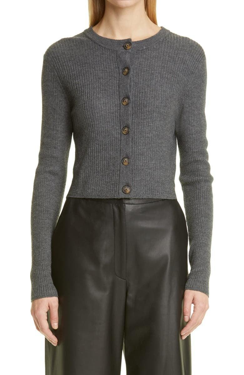 <p>This <span>Loulou Studio Contoy Rib Stretch Wool &amp; Cashmere Crop Cardigan</span> ($290) is one you'll reach for again and again. We like the soft fabric and cropped style.</p>