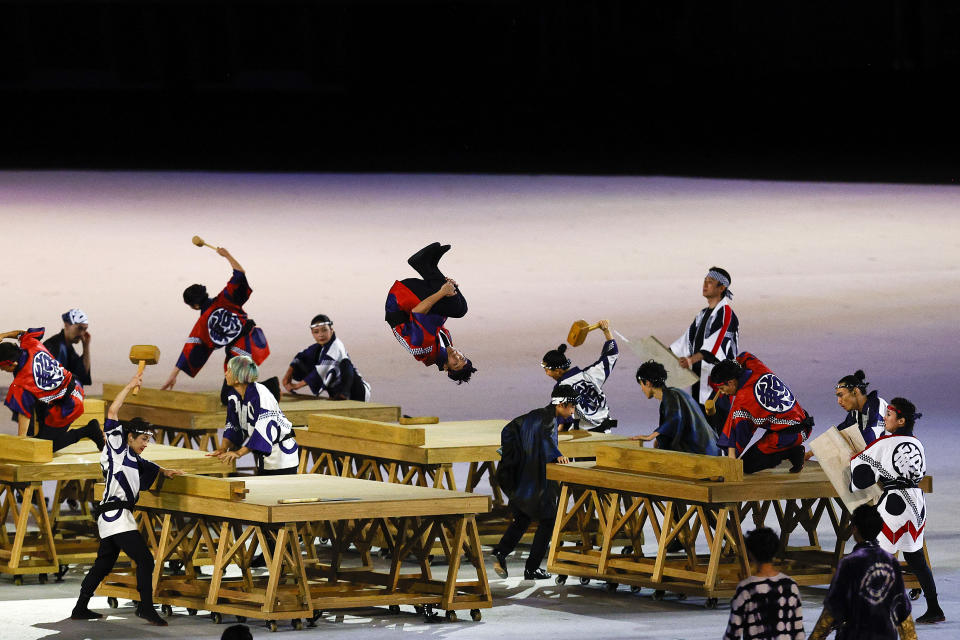 <p>TOKYO, JAPAN - JULY 23: Performers in action during the Opening Ceremony of the Tokyo 2020 Olympic Games at Olympic Stadium on July 23, 2021 in Tokyo, Japan. (Photo by Maddie Meyer/Getty Images)</p>