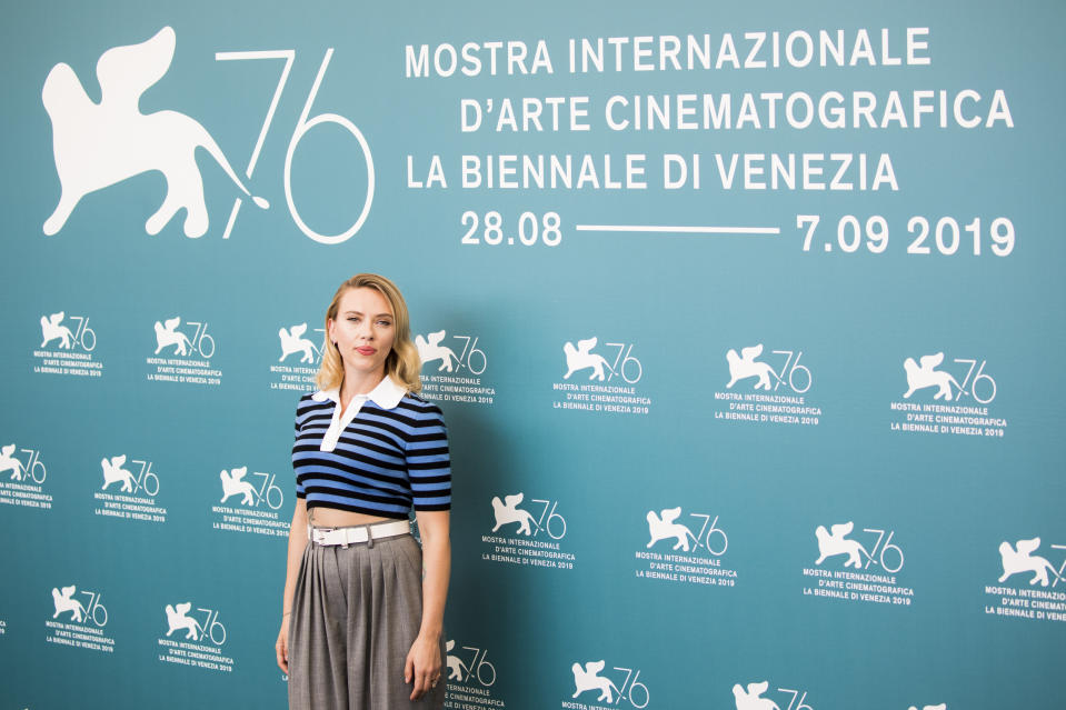 """VENICE, ITALY - AUGUST 29:  Scarlett Johansson attends """"Marriage Story"""" photocall during the 76th Venice Film Festival at Sala Grande on August 29, 2019 in Venice, Italy. (Photo by Tristan Fewings/Getty Images)"""