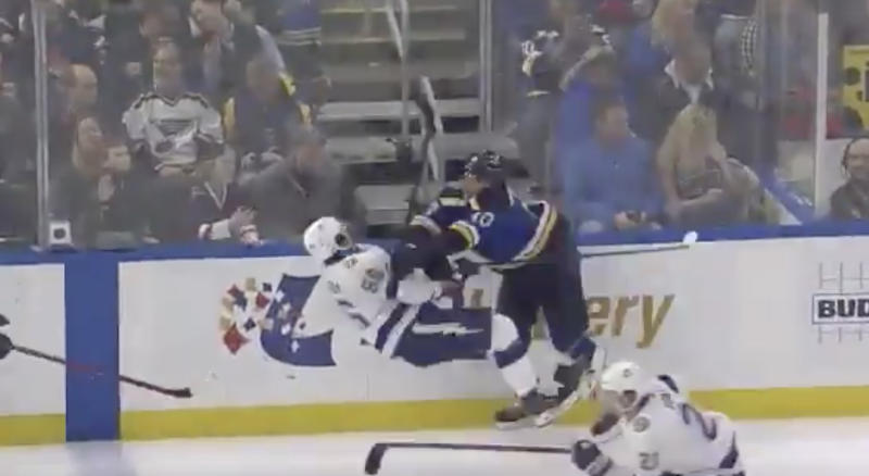 Nikita Kucherov of the Tampa Bay Lightning took a heavy hit from St. Louis Blues' Brayden Schenn in the second period on Tuesday night. (Twitter//@hayyyshayyy)