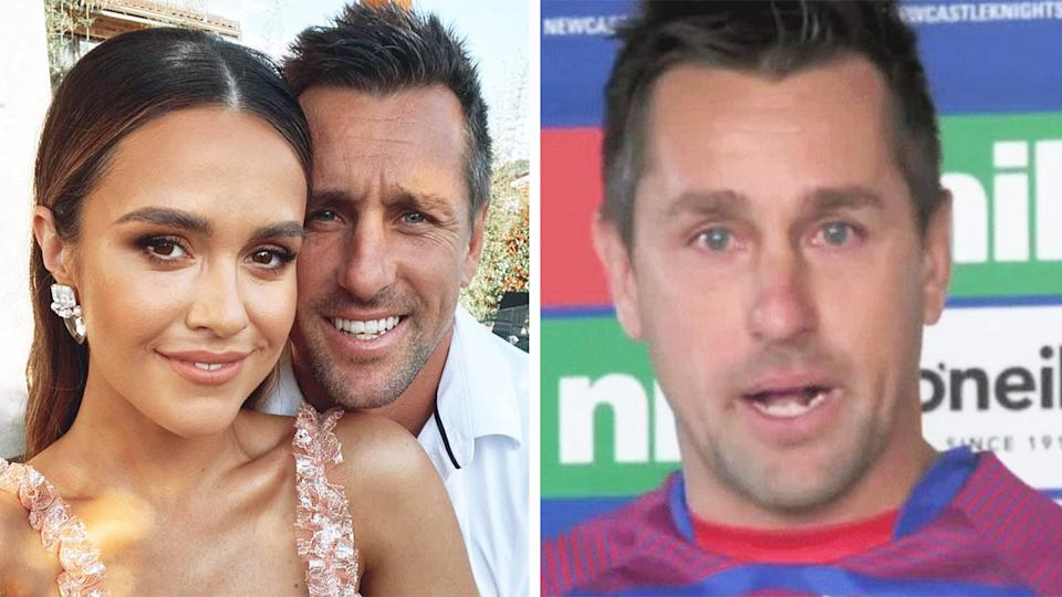 Mitchell Pearce (pictured left) smiling with his fiance and (pictured right) crying in a press conference.