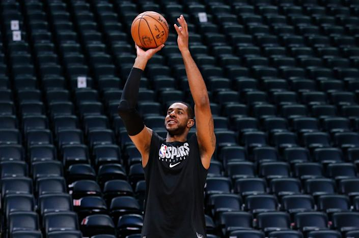 Feb 10, 2020; Denver, Colorado, USA; San Antonio Spurs forward LaMarcus Aldridge (12) warms up before the game against the Denver Nuggets at the Pepsi Center. Mandatory Credit: Isaiah J. Downing-USA TODAY Sports