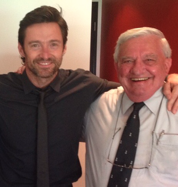 Hugh Jackman and his dad in a picture together