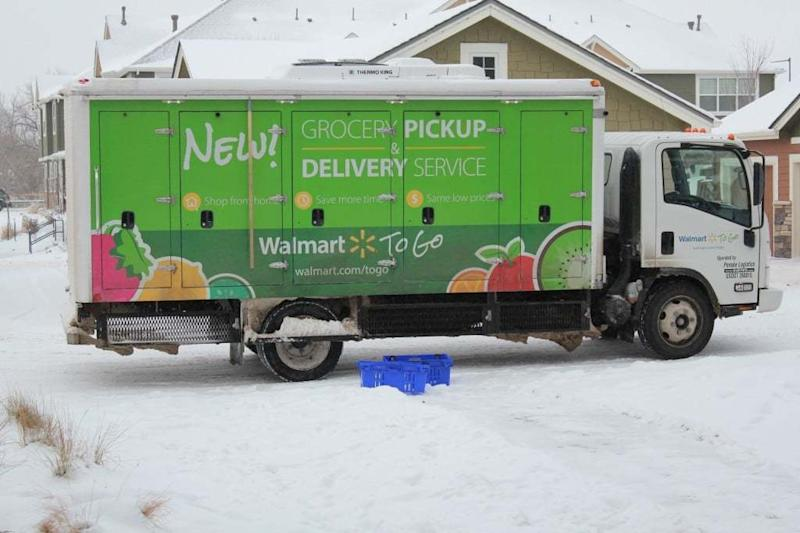 A Walmart grocery delivery truck.
