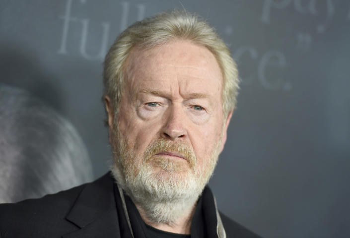 """FILE - Director Ridley Scott arrives at the world premiere of """"All the Money in the World"""" at the Samuel Goldwyn Theater on Monday, Dec. 18, 2017, in Beverly Hills, Calif. The Venice Film Festival has unveiled a starry lineup of world premieres for its 78th edition kicking off on Sept. 1, 2021, including Scott's medieval drama """"The Last Duel,"""" featuring Matt Damon, Ben Affleck and Adam Driver. (Photo by Jordan Strauss/Invision/AP)"""