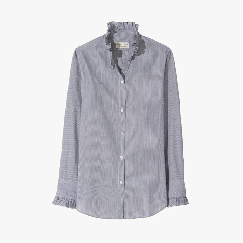 """Nili Lotan's ruffle-neck button-down will make a low-key statement on Zoom calls this fall. $350, NILI LOTAN. <a href=""""https://www.nililotan.com/collections/pf20/products/lydia-shirt?variant=31926236741750"""" rel=""""nofollow noopener"""" target=""""_blank"""" data-ylk=""""slk:Get it now!"""" class=""""link rapid-noclick-resp"""">Get it now!</a>"""