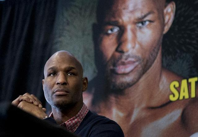 IBF Light Heavyweight World Champion Bernard Hopkins, attends a news conference in Washington, Tuesday, March 11, 2014, announcing his Light Heavyweight World Championship unification bout against WBA and IBA Light Heavyweight Champion Beibut Shumenov of Kazakhstan, to be held at the DC Armory in Washington on April 19, 2014. (AP Photo/Manuel Balce Ceneta)