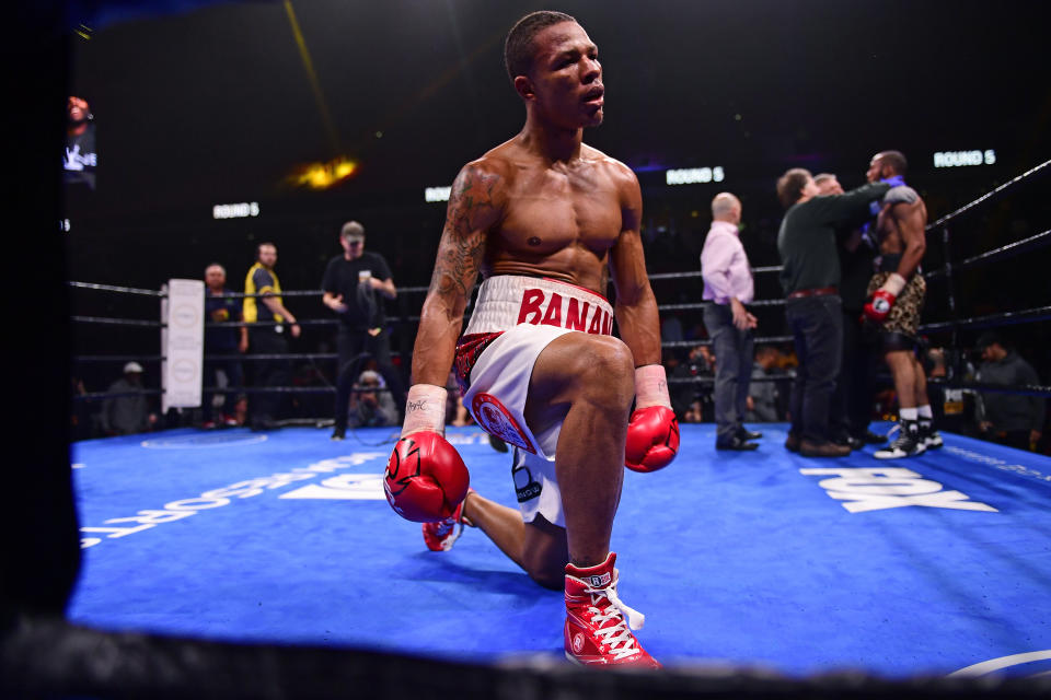 PHILADELPHIA, PA - JANUARY 18: Jeison Rosario reacts to the fight being stopped against Julian Williams (R) for the super welterweight world WBO, IBO and WBA titles during the fifth round at The Liacouras Center at Temple University on January 18, 2020 in Philadelphia, Pennsylvania. Jeison Rosario defeated defending champion Julian Williams by a fifth round stoppage. (Photo by Corey Perrine/Getty Images)