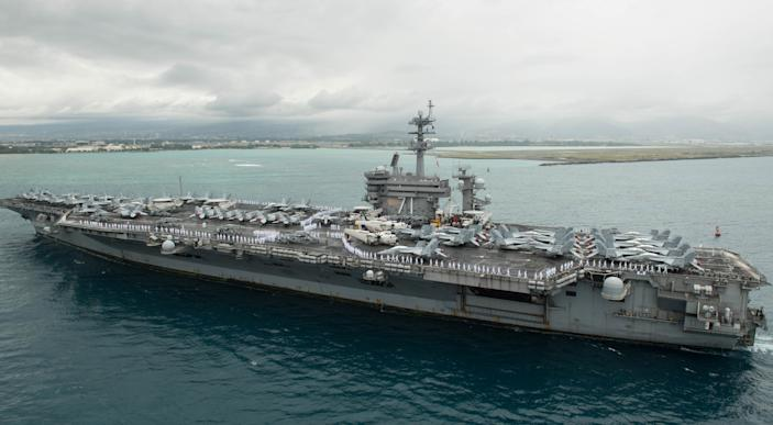 Aircraft carrier USS Theodore Roosevelt (CVN 71). (Smith Collection/Gado/Getty Images)