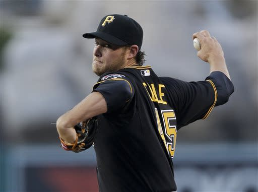 Pittsburgh Pirates starting pitcher Gerrit Cole throws to the Los Angeles Angels during the first inning of a baseball game in Anaheim, Calif., Friday, June 21, 2013. (AP Photo/Chris Carlson)