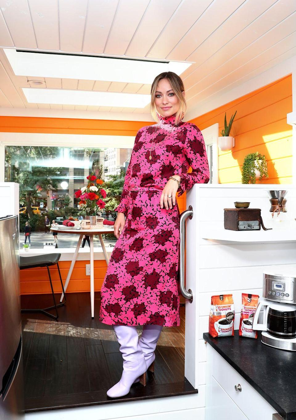 <p>It was a fuchsia 1960s-inspired pink floral-printed Kate Spade dress with lilac-hued boots - also by Spade - for this occasion in the Big Apple. <br></p>