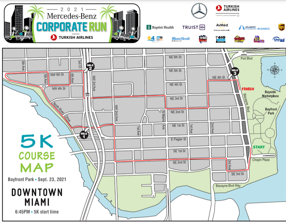 Downtown Miami will see many street closures Thursday as the Mercedes-Benz Corporate Run takes place inside the city, starting at Bayfront Park