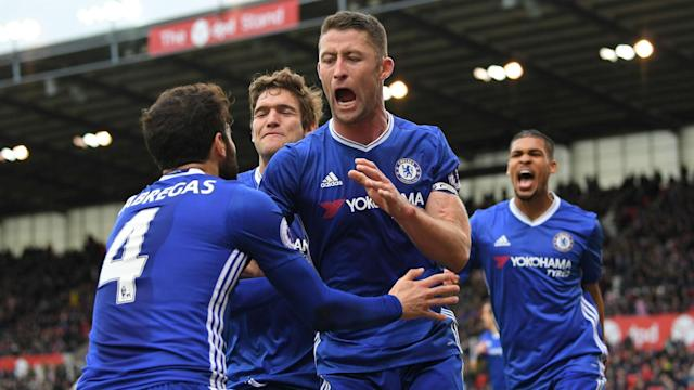 A fiery encounter between Stoke City and Chelsea at the bet365 Stadium was settle by Gary Cahill's strike three minutes from time.