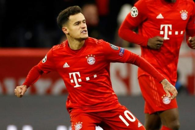 Bayern Munich's Philippe Coutinho celebrates his first Champions League goal for the Germans in the 3-1 win against Tottenham (AFP Photo/Odd ANDERSEN)