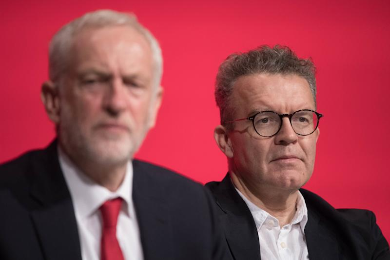 Labour leader Jeremy Corbyn (left) and deputy leader Tom Watson attend the start of their party's annual conference at the Arena and Convention Centre (ACC), in Liverpool. (Photo by Stefan Rousseau/PA Images via Getty Images)