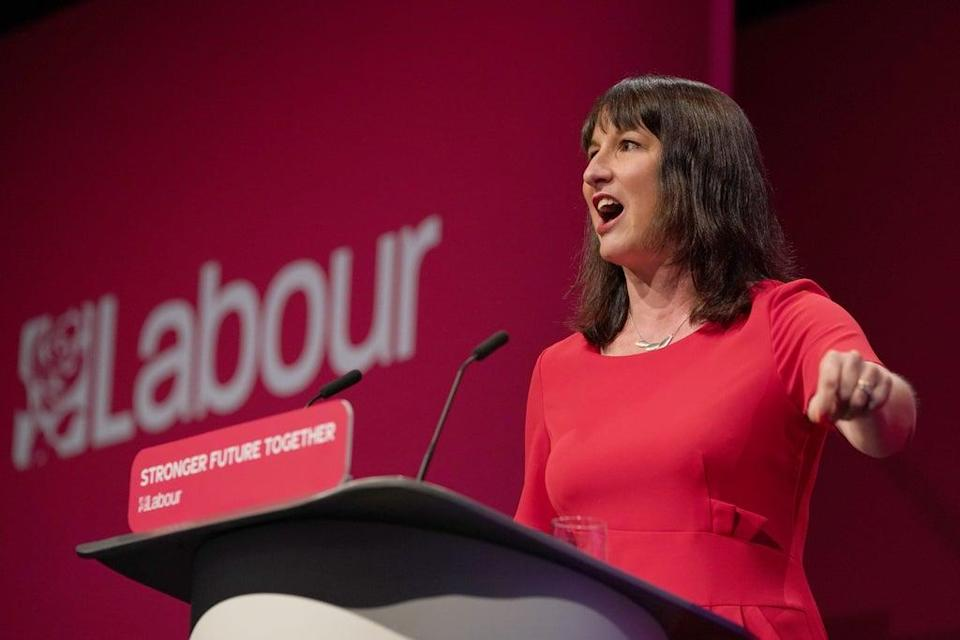 Shadow chancellor Rachel Reeves giving her keynote speech (Gareth Fuller/PA) (PA Wire)
