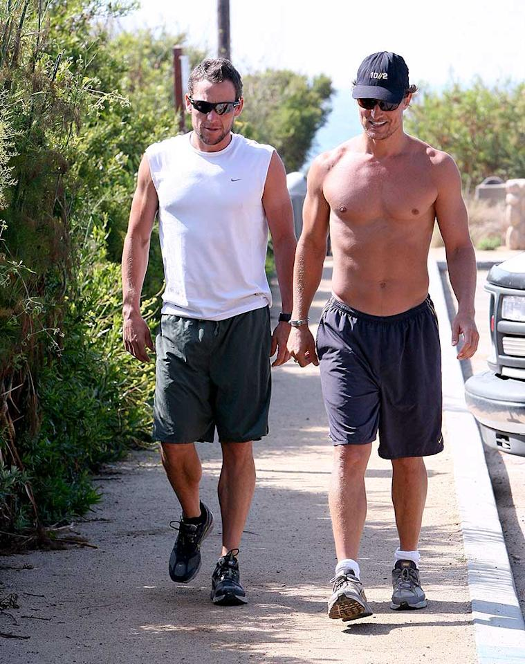 "Now that Matthew McConaughey is a dad, he and Lance Armstrong have even more in common than being from Texas and loving to work out! AlphaX/<a href=""http://www.x17online.com"" target=""new"">X17 Online</a> - July 2, 2008"