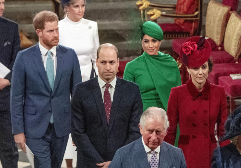 From left, Britain's Prince Harry, Prince William, Meghan Duchess of Sussex and Kate, Duchess of Cambridge leave the annual Commonwealth Service at Westminster Abbey in London Monday March 9, 2020.  Britain's Queen Elizabeth II and other members of the royal family along with various government leaders and guests are attending the annual Commonwealth Day service, the largest annual inter-faith gathering in the United Kingdom. (Phil Harris / Pool via AP)