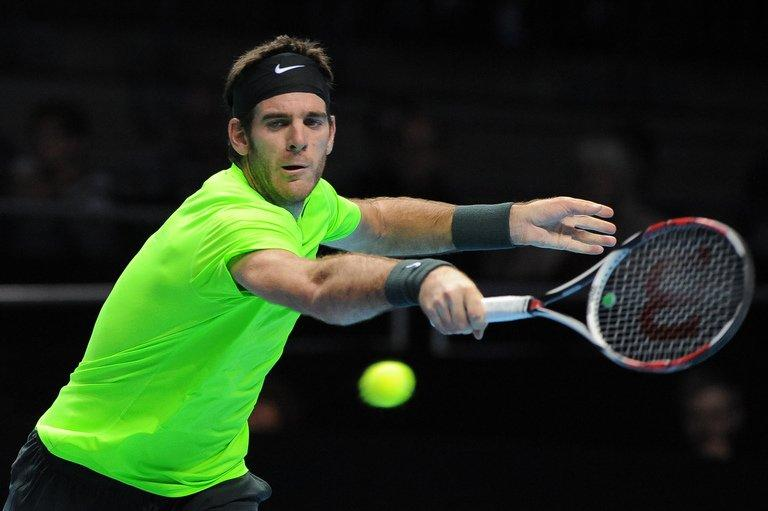 Juan Martin Del Potro reaches for a return at the ATP World Tour Finals tennis tournament in London on November 11, 2012