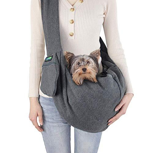 JESPET Comfy Pet Sling for Small Dog Cat, Hand Free Sling Bag Breathable Soft Knit with Front Pocket, Travel Puppy Carrying Bag, Pet Pouch. Machine Washable (Grey) (Amazon / Amazon)