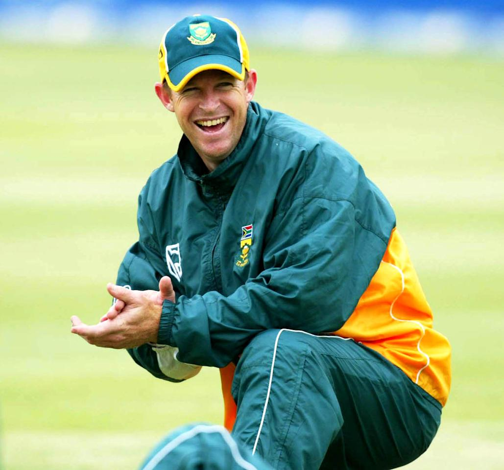 5 Apr 2002:  Jonty Rhodes enjoys a laugh during the South Africa nets session at St. George's Park, Port Elizabeth, South Africa. DIGITAL IMAGE. TOUCHLINE PHOTO IMAGES ARE AVALIABLE TO CLIENTS IN THE UK, USA AND AUSTRALIA ONLY. Mandatory Credit: Touchline Photo/Getty Images