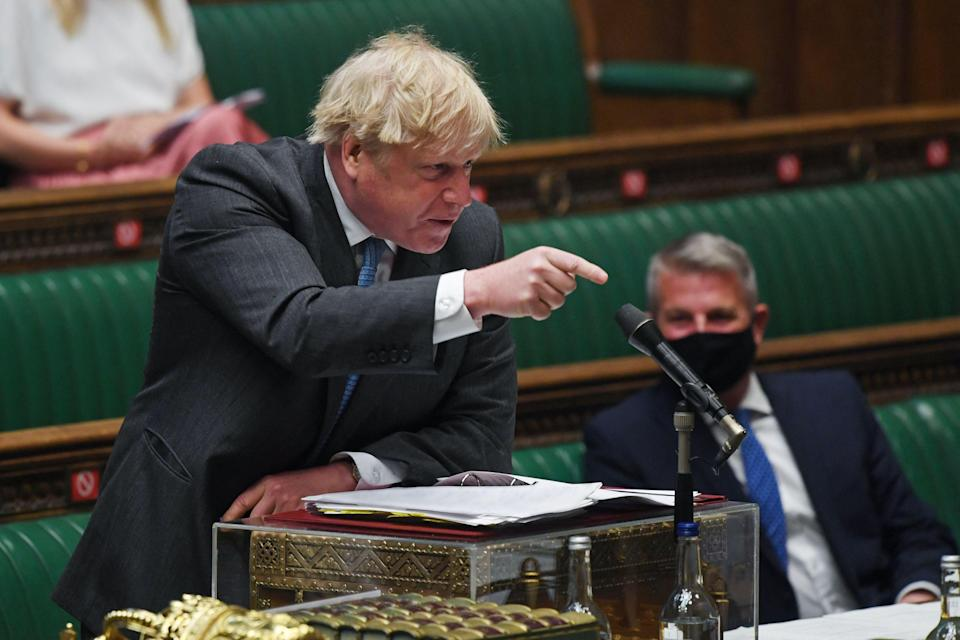 <p>Boris Johnson at PMQs on Wednesday</p> (AFP via Getty Images)
